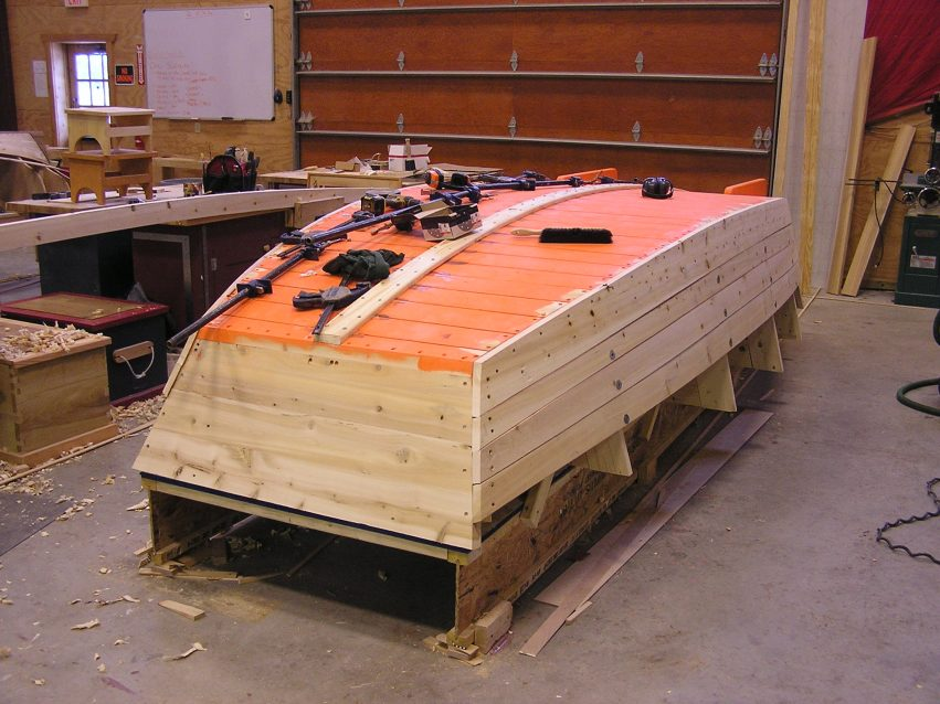 "A Garvey work boat – a 16' design that utilised the scantlings from the original 19' 7"" design built at the Mystic Seaport Museum. It will be driven by an outboard engine mounted in an inboard well and, like the original, it will help move GLBBS boats. This build is a replica of a 100 year old design sold by the Petoskey Boat Co."