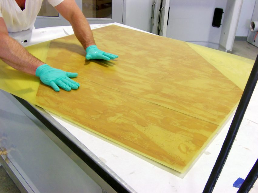 Mold surface: plywood and G-10
