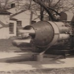 Les Staudacher fires up the engine which was strapped on a cement pad, right in the middle of a residential neighborhood.