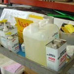 WEST SYSTEM® Epoxy products organized on a rolling cart.
