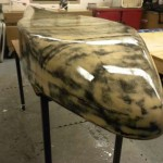 Lower shell with final coats of WEST SYSTEM® Epoxy (glossy!)