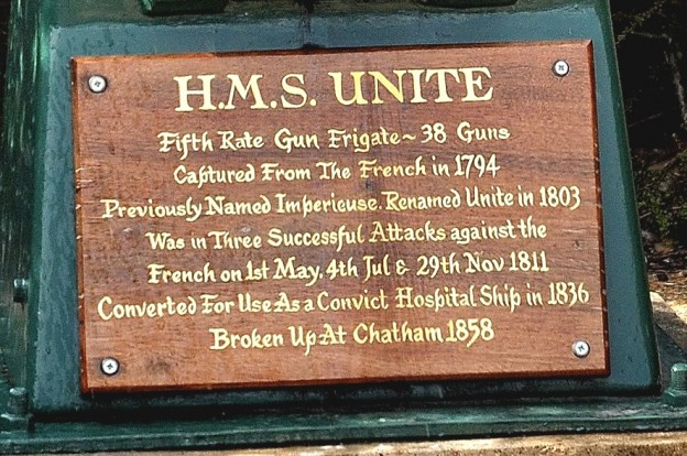Plaque on the Figurehead of the HMS UNITE'
