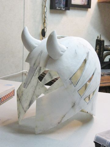 Medieval armored Joker cosplay mask, step 2