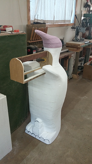 Dry fitting the penguin mailbox