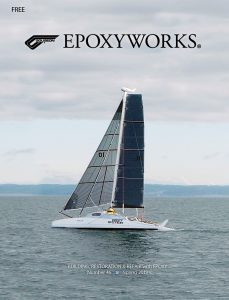 G-32 catamaran on the cover of Epoxyworks 46, Spring 2018
