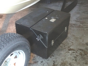 """I built a relatively simple storage box for my trailer using ¾"""" plywood coated and bonded with WEST SYSTEM Epoxy. It provides a place to store my spare trailer parts, wheel chocks and tie downs. In addition, it makes a great step when loading the boat back on the trailer. This tool box has been attached to my trailer for over ten years and has seen at least 20,000 miles of highway travel."""