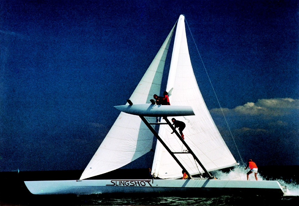 Slingshot, 60' proa--Georg Thomas designer, Gougeon Brothers Inc. builder, 1978. Photo by Dave Powlison.