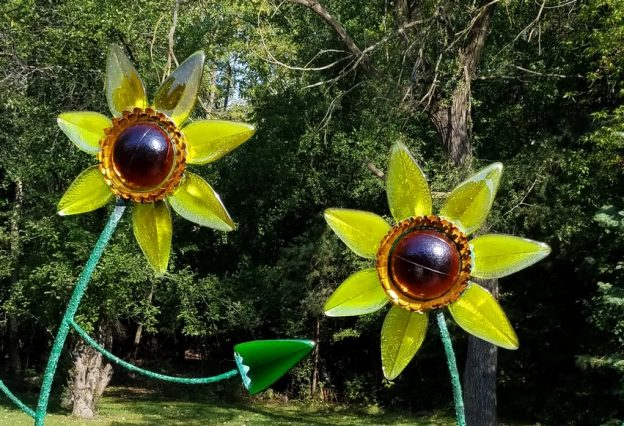 bronze, glass & epoxy sunflowers