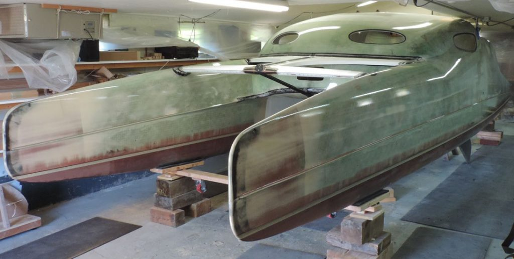 G-32 catamaran undergoing refinishing